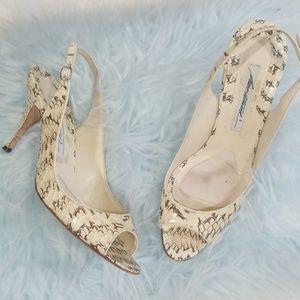 Brian Atwood Snakeskin sling back heels.  Size 9.5